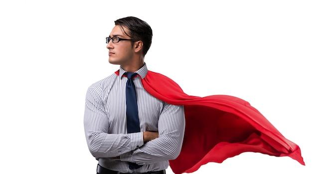 Uomo d'affari in copertura rossa isolata su bianco