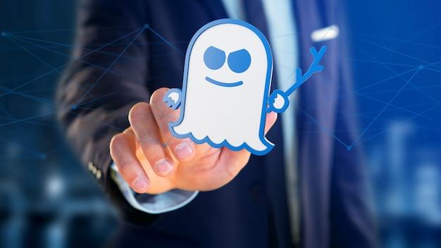 Uomo d'affari in possesso di un attacco con processore spectre con connessione di rete