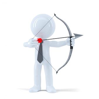 Uomo d'affari mira a un obiettivo con arco e freccia