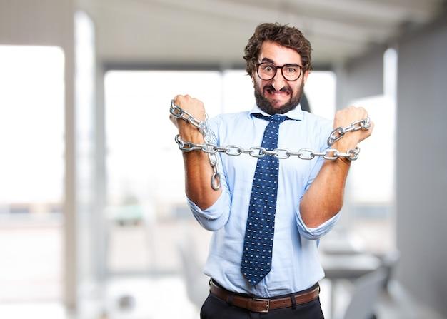 Uomo d'affari pazzesco espressione arrabbiata
