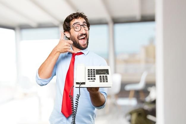 Uomo d'affari pazzesco felice espressione