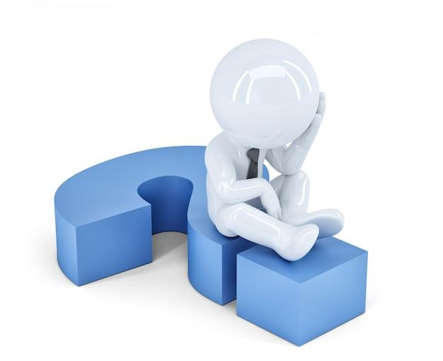 Uomo d'affari seduto su un punto interrogativo. concetto di affari. isolato. contiene il tracciato di ritaglio