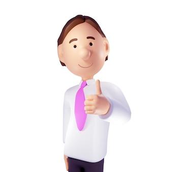 Uomo d'affari sorridente con il pollice in su. rendering 3d