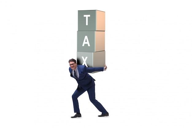 Uomo d'affari sotto carico fiscale pesante