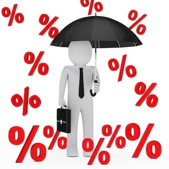 Uomo d'affari sotto una pioggia di percentuali