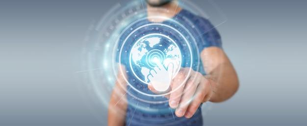 Uomo d'affari utilizzando l'interfaccia di schermi digitali con i dati degli ologrammi, rendering 3d