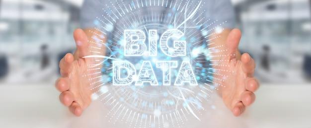 Uomo d'affari utilizzando l'ologramma digitale di big data
