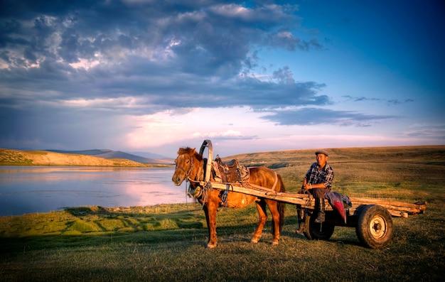 Uomo del cavallo che si siede su un carretto del cavallo in mongolia