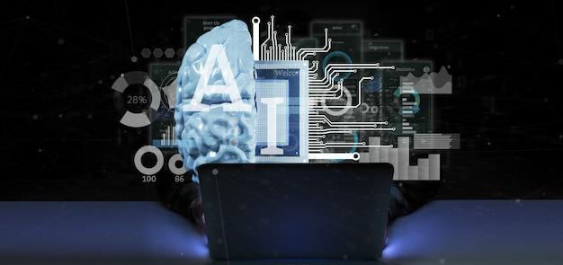 Uomo del pirata informatico che tiene l'icona di intelligenza artificiale con il mezzo cervello e la rappresentazione del mezzo circuito 3d
