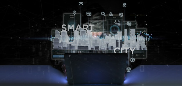 Uomo del pirata informatico che tiene l'interfaccia utente astuta della città con l'icona, le statistiche e la rappresentazione di dati 3d