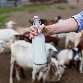 Uomo del primo piano che tiene una bottiglia di latte di capra
