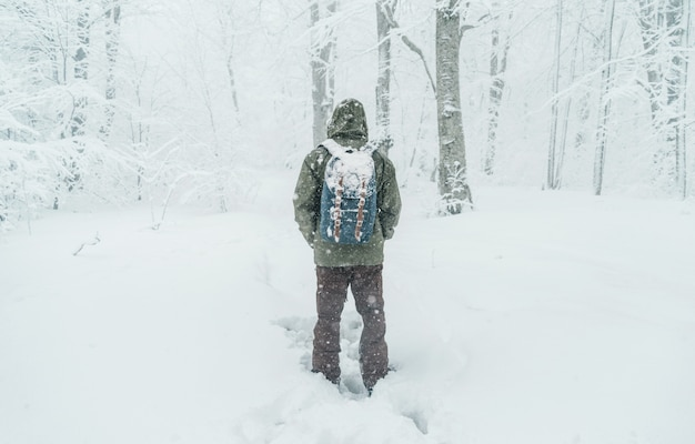 Uomo del viaggiatore che cammina nella foresta nevosa