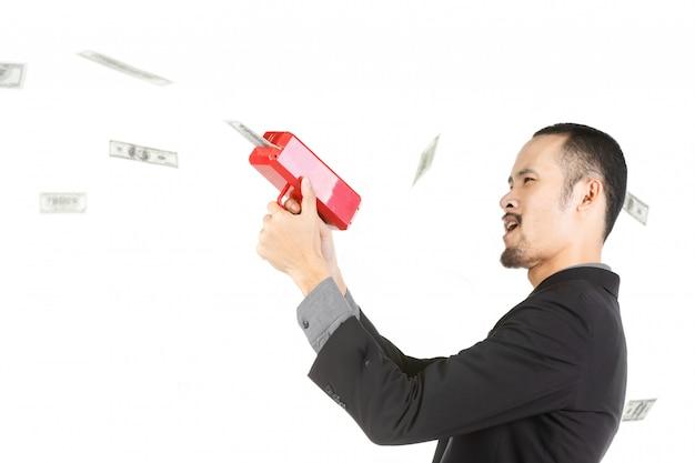 Uomo di affari con soldi isolati su bianco