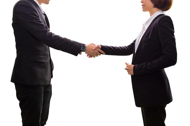 Uomo di affari, donna che stringe mano durante la riunione nell'ufficio. successo, trattando il saluto partn