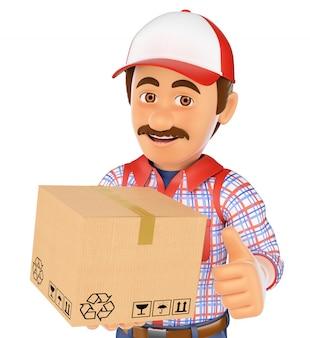 Uomo di consegna 3d con una scatola