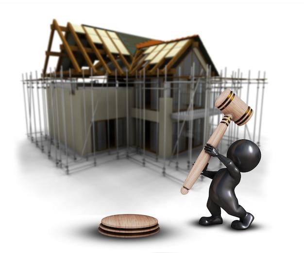 Uomo di morph 3d con il martelletto contro un'immagine in costruzione della casa defocussed
