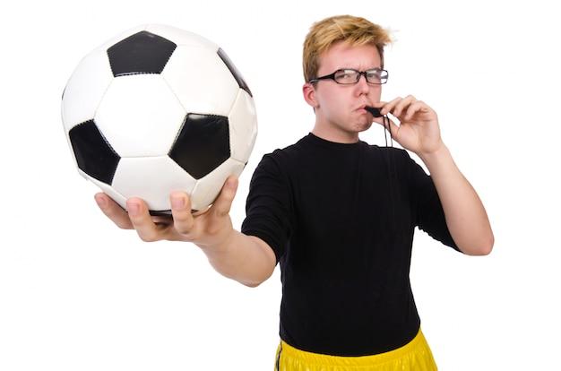Uomo divertente nel concetto di sport