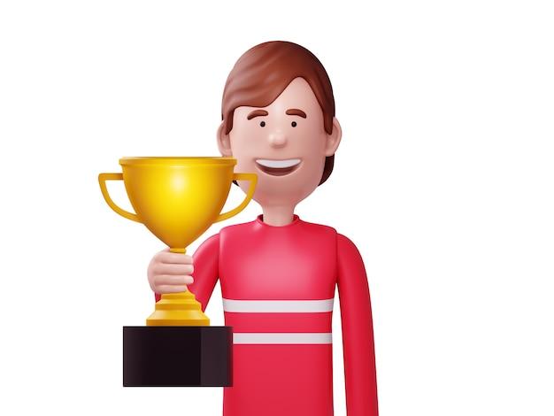 Uomo felice che tiene un trofeo
