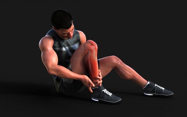 Uomo ferito sensazione dolore al ginocchio isolare sul buio