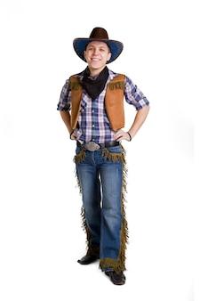 Uomo in un isolato nero del cappello da cowboy su bianco