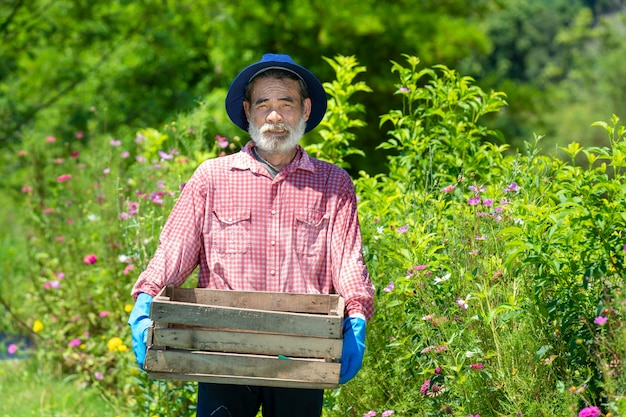 Uomo senior felice attivo che lavora nel giardino