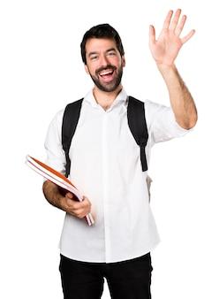 Uomo studente saluto