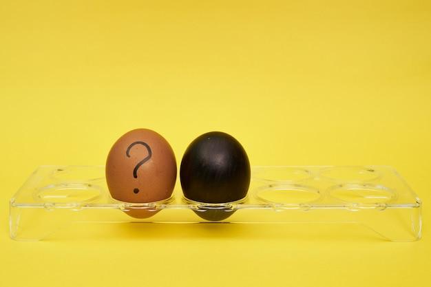Uova di gallina in un portauovo. mezzo uovo, tuorlo d'uovo, guscio. emozioni ed espressioni facciali sulle uova, un punto interrogativo su un uovo. uovo nero.