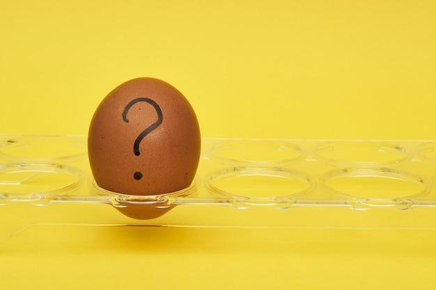 Uova di gallina in un portauovo. vassoio per uova. emozioni ed espressioni facciali sulle uova, un punto interrogativo su un uovo. uovo nero.