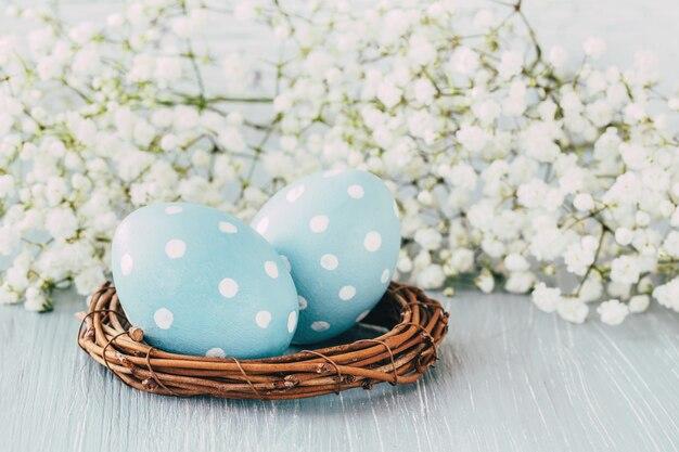 Uova di pasqua blu e fiori di gipsofila. sfondo di pasqua