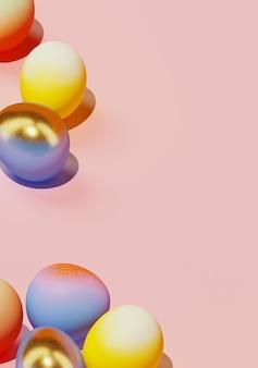 Uova di pasqua colorate su sfondo rosa. illustrazione di rendering 3d.