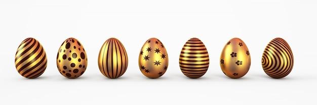 Uova di pasqua dell'oro con l'insieme del patten isolato. illustrazione di rendering 3d.