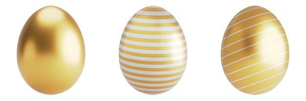 Uova di pasqua dell'oro con l'insieme del patten isolato su superficie bianca rappresentazione 3d. c'è un percorso di ritaglio.
