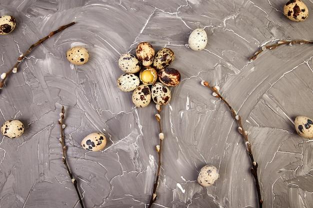 Uova di pasqua della quaglia su fondo grigio con il ramo del salice.