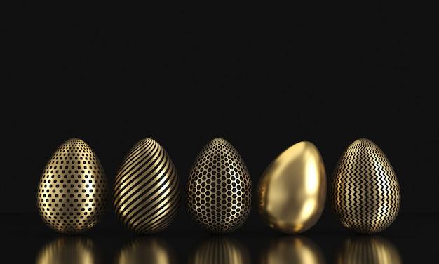 Uova di pasqua dorate isolate sul nero