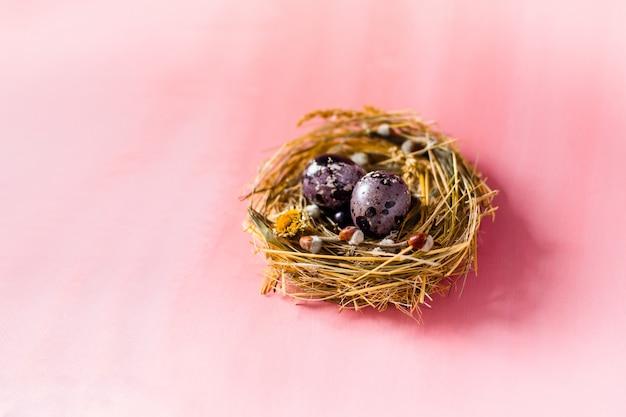 Uova di pasqua in un nido e con i fiori sulla parete rosa.