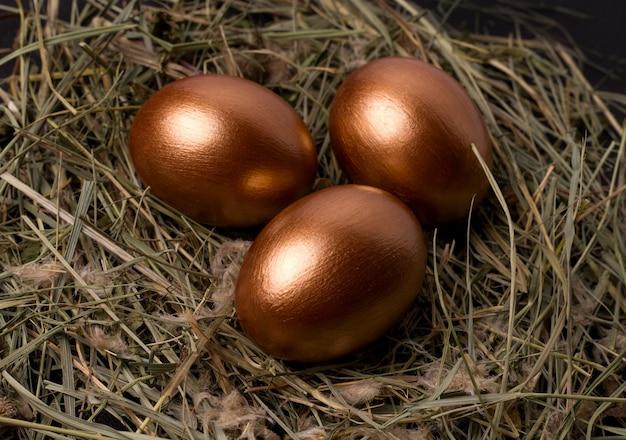 Uova di pasqua in un nido