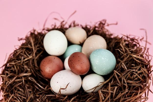 Uova di pasqua nel nido contro la superficie rosa, modello di vacanze di stagione