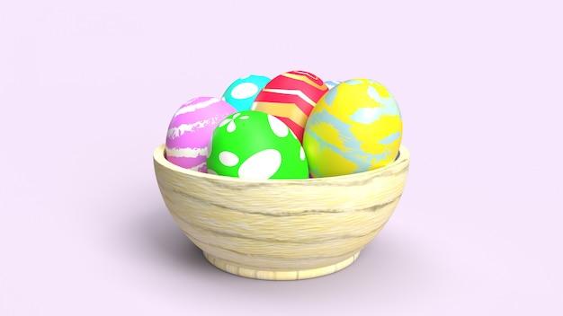 Uova di pasqua nella rappresentazione di legno della ciotola 3d per il contenuto di festa.