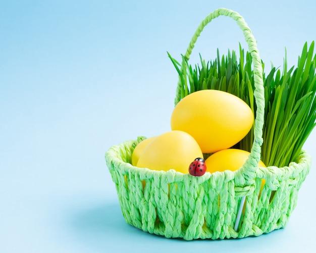 Uova di pasqua variopinte in un cestino con erba decorativa. sfondo blu concetto di vacanza di pasqua.