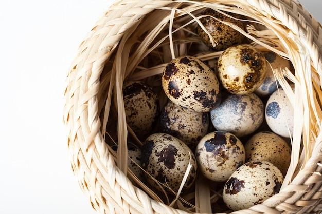 Uova di quaglia fresche al primo piano di legno del piatto