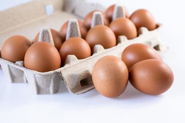 Uova fresche crude in scatola di cartone
