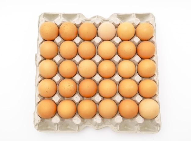 Uova fresche in pacchetto su sfondo bianco.