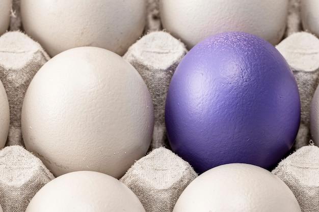 Uova in un primo piano di una cella, una bianca e l'altra blu, come segno di differenza o simbolo di solitudine dell'individualità. concetto per la pasqua