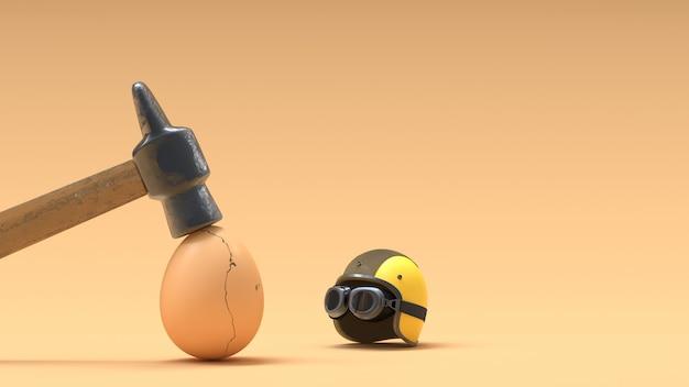 Uova rotte perché non indossano caschi.