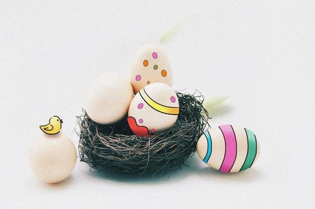 Uovo colorato in un nido