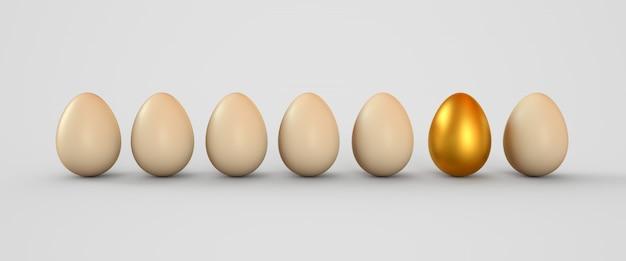 Uovo d'oro in una fila di uova bianche
