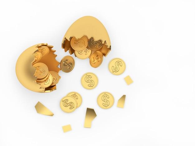 Uovo d'oro rotto con monete cosparse