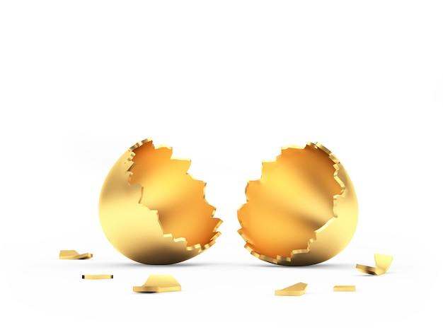 Uovo di pasqua dorato vuoto rotto