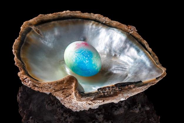 Uovo di pasqua variopinto in una conchiglia con la riflessione.