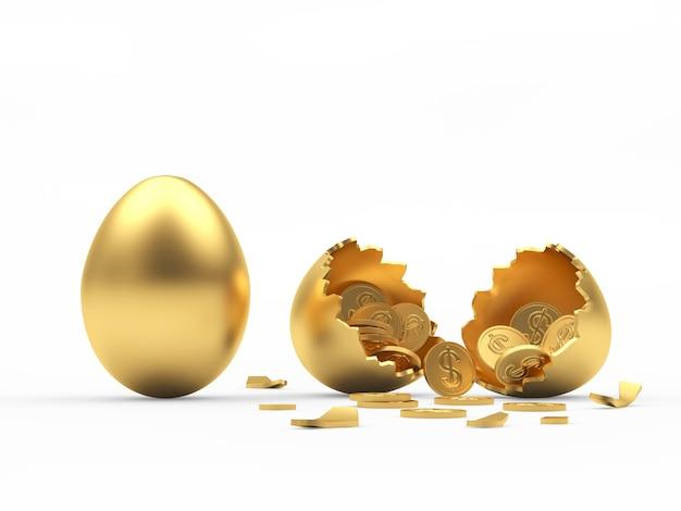 Uovo intero dorato e guscio d'uovo rotto con monete all'interno